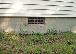 Open crawl space vents that let rodents, termites, and other pests in a home in Orangeburg